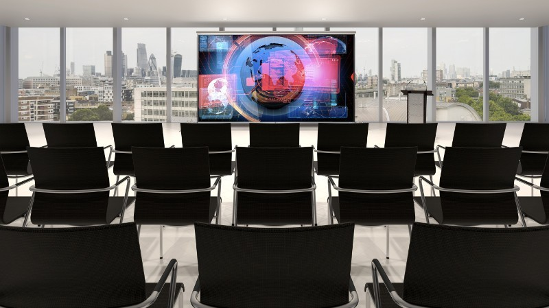Empty conference hall with podium and presentation screens 3D rendering