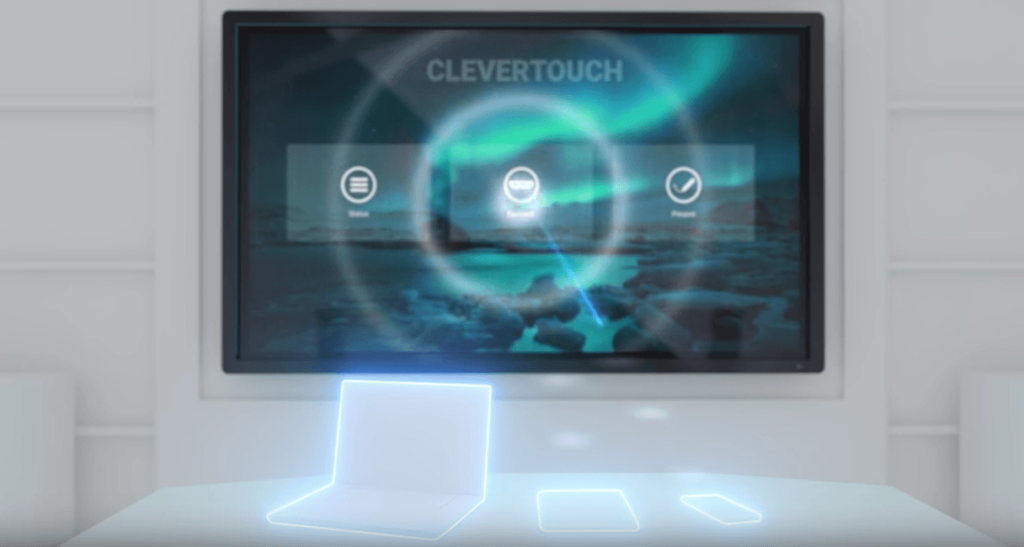 Laptops, tablets and mobile phones can be screen shared to the Clevertouch