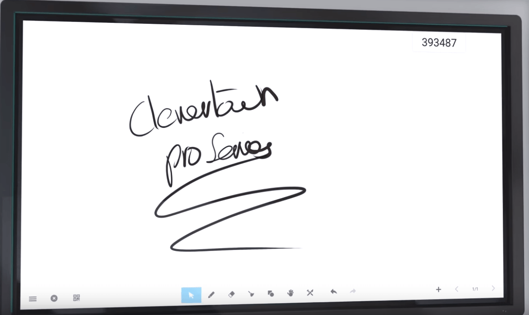 Clevertouch interactive display features a digital whiteboard for infinite scrolling or slide-based writing
