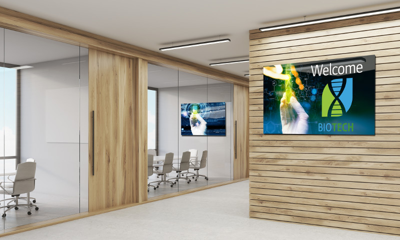 Company corridor with light wood walls and two conference rooms with chairs and tables. Concept of negotiation. Mock up. 3d rendering
